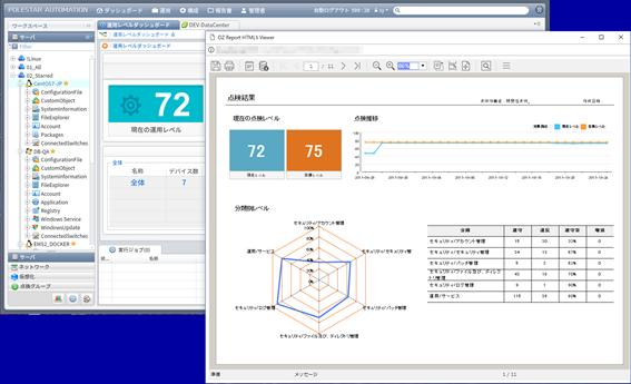 表だけでなくグラフでも点検・監査結果を表示する、ビジュアルな報告書機能